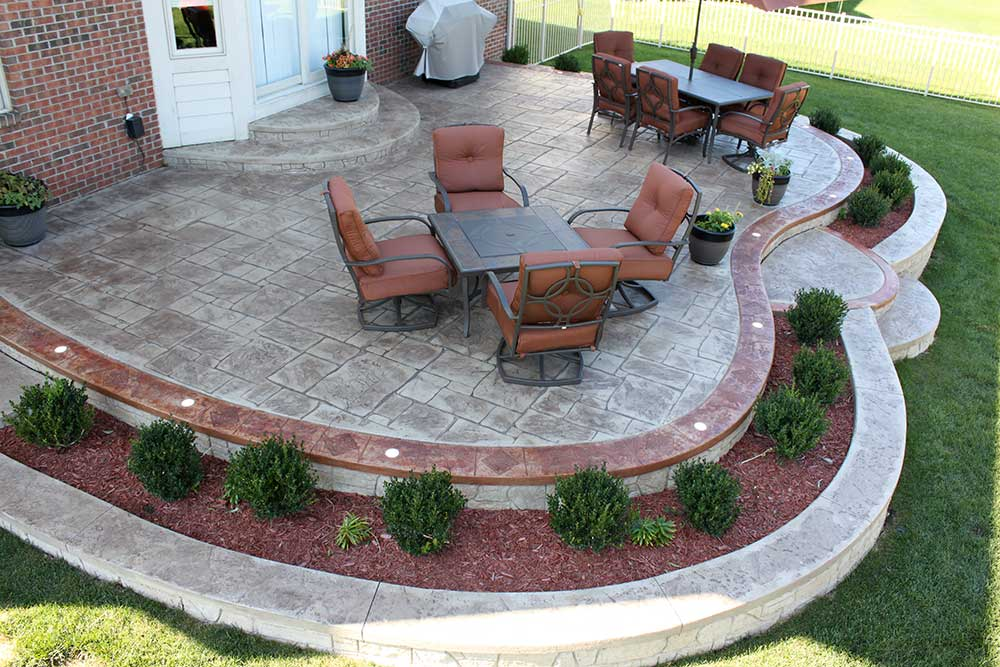 Shelby Township MI Stamped Concrete Patio with stained borders and lights