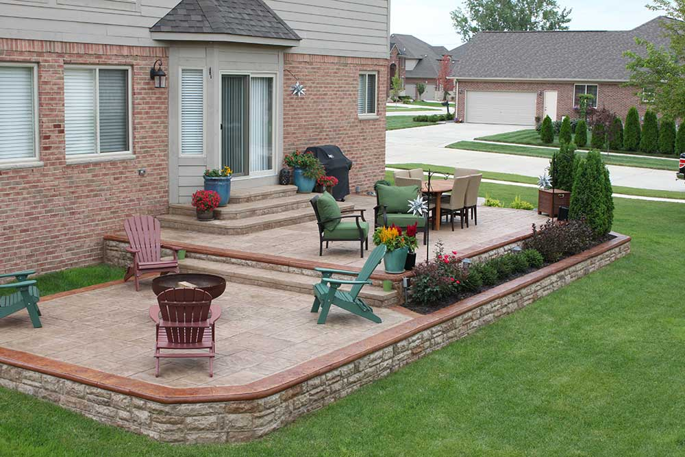 Two-Level Stamped Concrete Patios in Shelby Township, MI