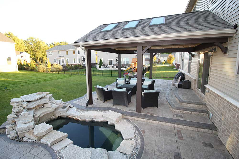 Stamped Concrete Patio with Inset Pond in Shelby Township, Michigan